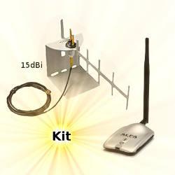 Alfa AWUS036H WLAN USB Adapter Yagi Wifi Antenna 15dBi