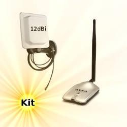 Alfa AWUS036H WLAN USB Adapter 12dBi Mobile Panel Antenna