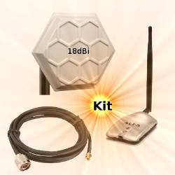 Alfa AWUS036H WLAN USB Adapter 18dBi Wifi Antenna 10m