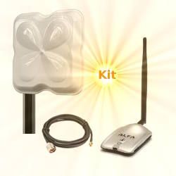 Alfa AWUS036H USB WLAN Adapter 18dBi Wifi Antenna 10m