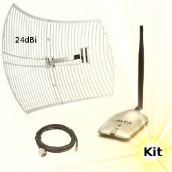 Alfa AWUS036H WLAN USB Adapter Wifi Antenna 24dBi 5m