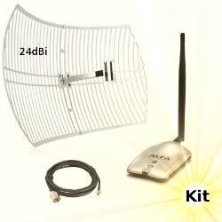 Alfa AWUS036H WLAN USB Adapter Wifi Antenna 24dBi 15m