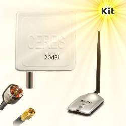 Alfa AWUS036H WLAN USB Adapter 20dBi Wifi Antenna 10m