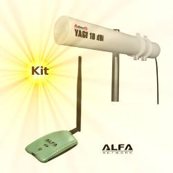 Alfa AWUS036NH WLAN USB Adapter 18dBi Yagi Antenna 10m