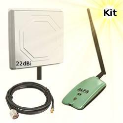 Alfa AWUS036NH WLAN USB Adapter 22dBi Wifi Antenna 5m