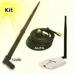 Alfa AWUS036NHR USB Adapter 12dBi Omni Antenna Magnetic