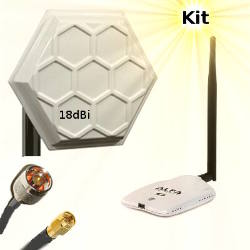 Alfa AWUS036NHR WLAN USB Adapter Wifi Antenna 18dBi 5m