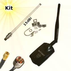 WiFiSky 3000 USB Adapter 15dBi Omni Wifi Antenna 10m