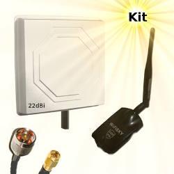 WiFiSky 3000mW USB Adapter 22dBi Directional Antenna 15m